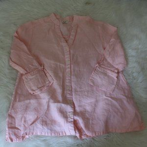 pink  Tie Long Sleeve Boxy 100 Linen Button Front